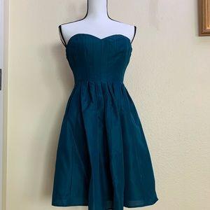 Strapless Jcrew teal dress sweetheart neckline